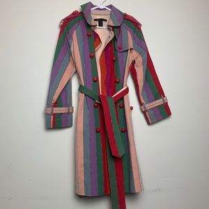 Marc Jacobs Striped Multi-Color Button Trench Coat
